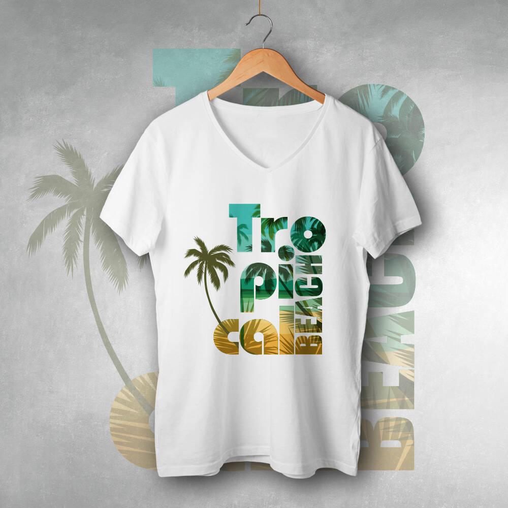 Tropical Beach Tasarımlı Tişört