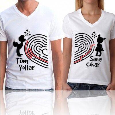 Tüm Yollar Sana Çıkar Çift Tişörtleri - Thumbnail