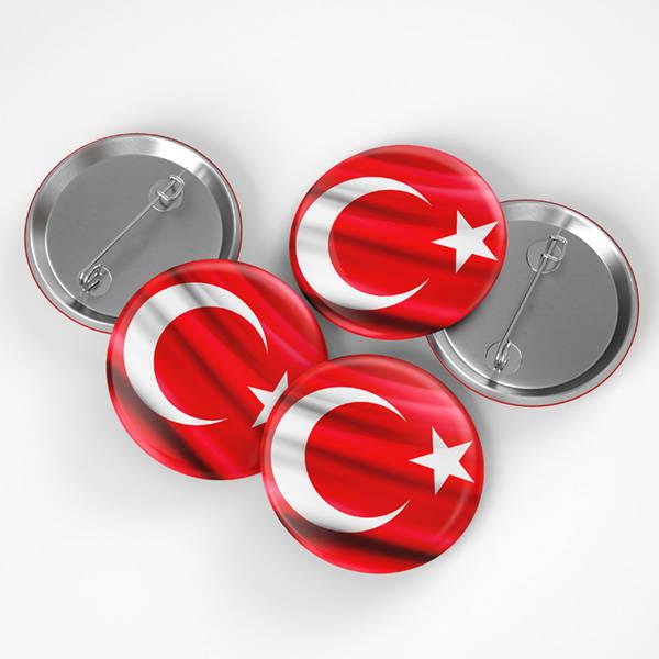 Türk Bayrağı İğneli Buton Rozet