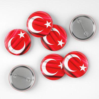 Türk Bayrağı İğneli Buton Rozet - Thumbnail