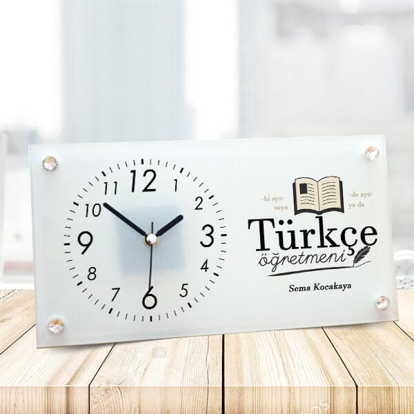 Türkçe Öğretmenine Hediye Cam Masa Saati