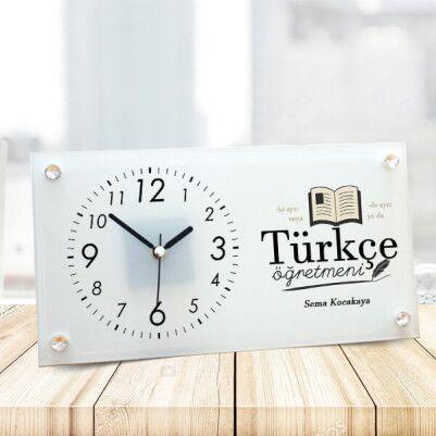 - Türkçe Öğretmenine Hediye Cam Masa Saati