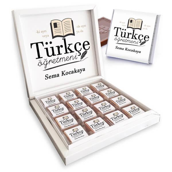 Türkçe Öğretmenine Hediye Çikolata Kutusu