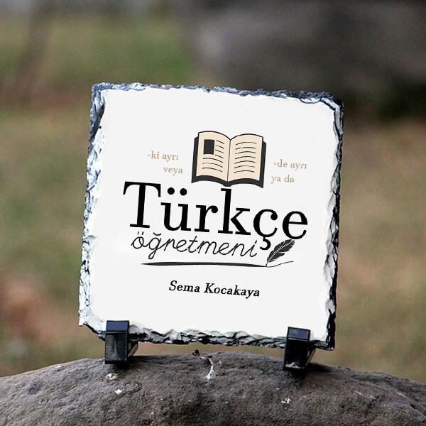 Türkçe Öğretmenine Hediye Kare Taş Baskı