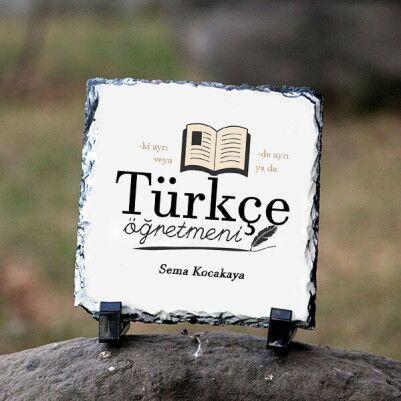 - Türkçe Öğretmenine Hediye Kare Taş Baskı