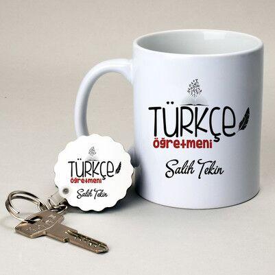 - Türkçe Öğretmenine Hediye Kupa ve Anahtarlık