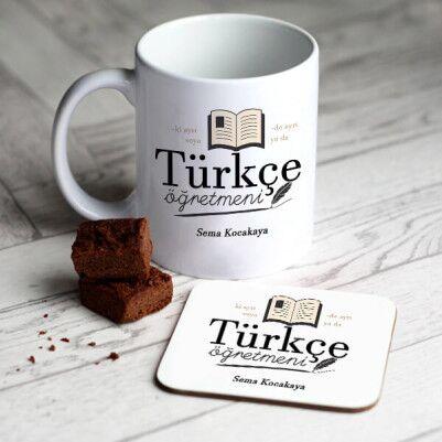- Türkçe Öğretmenine Hediye Kupa Ve Bardak Altlığı