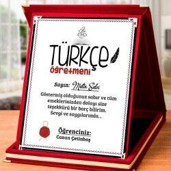 Türkçe Öğretmenine Hediye Plaket - Thumbnail