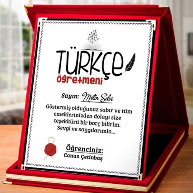 Türkçe Öğretmenine Hediye Plaket