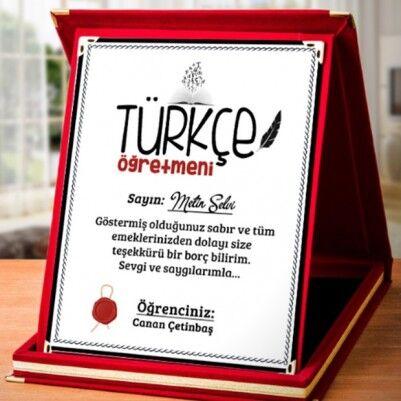 - Türkçe Öğretmenine Hediye Plaket