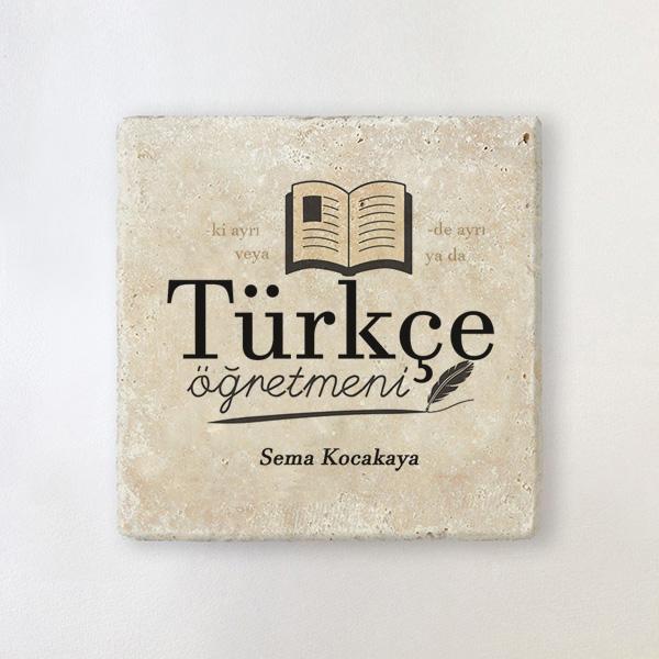 Türkçe Öğretmenine Hediye Taş Bardak Altlığı