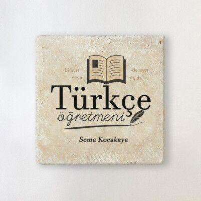 - Türkçe Öğretmenine Hediye Taş Bardak Altlığı
