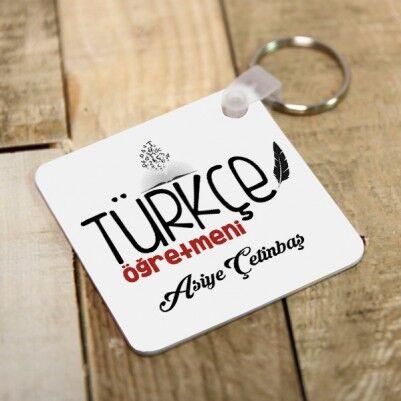 - Türkçe Öğretmenine Özel Kare Anahtarlık