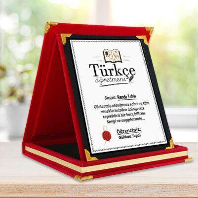 - Türkçe Öğretmenlerine Hediye Plaket