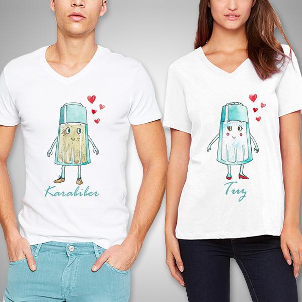 Tuz ve Karabiber Beyaz Sevgili Tişörtleri