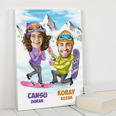 - Unutulmaz Evlilik Teklifi Karikatürlü Kanvas Tablo