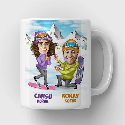 - Unutulmaz Evlilik Teklifi Karikatürlü Kupa Bardak