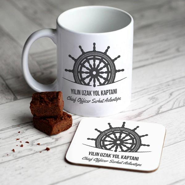 Uzak Yol Gemi Kaptanına Hediye Kupa ve Bardak Altlığı