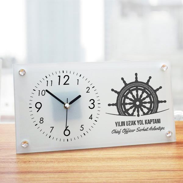 Uzak Yol Kaptanına Hediye Cam Masa Saati