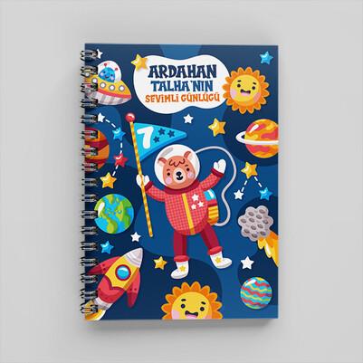 Uzay Temalı Kişiye Özel Çocuk Defteri - Thumbnail