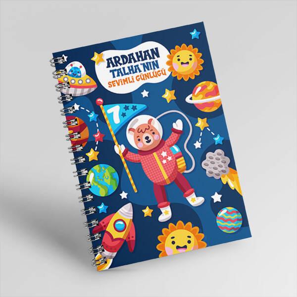 Uzay Temalı Kişiye Özel Çocuk Defteri