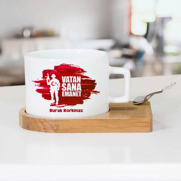 Vatan Sana Emanet İsme Özel Çay Fincanı