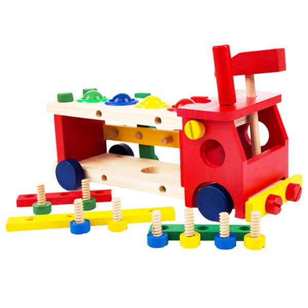 Vidalı Zeka Geliştirici Ahşap Oyuncak Araba