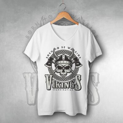- Vikings Tasarımlı Beyaz Tişört