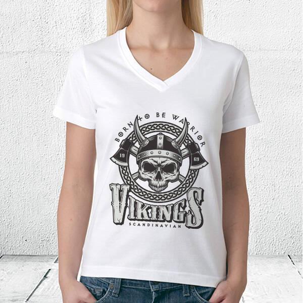 Vikings Tasarımlı Beyaz Tişört
