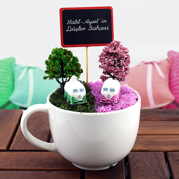 Vosvos Minibüslü Minyatür Bahçe Hediyemencom