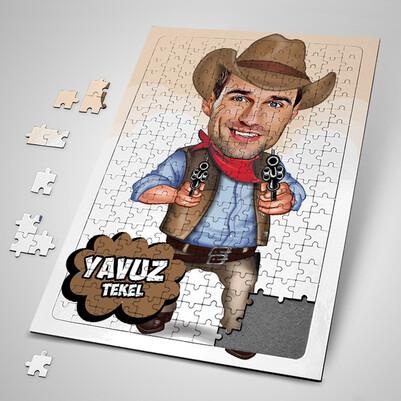 - Yakışıklı Kovboy Karikatürlü Puzzle