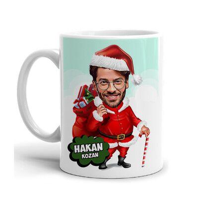- Yakışıklı Noel Baba Karikatürlü Kupa Bardak