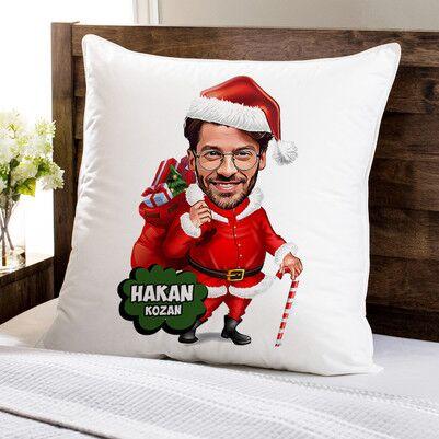 - Yakışıklı Noel Baba Karikatürlü Yastık