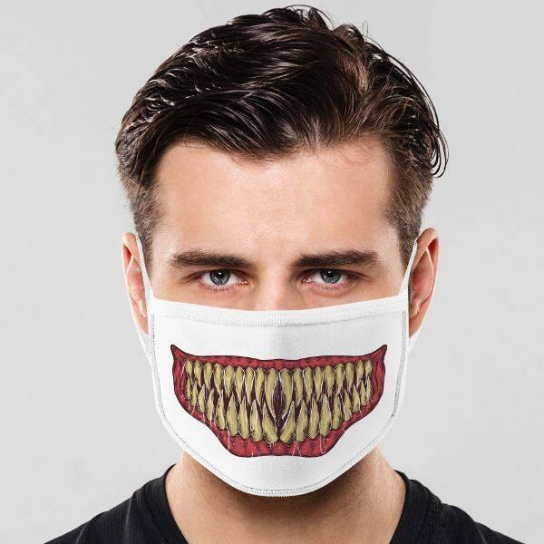 Yaratık Dişleri Tasarımlı Ağız Maskesi