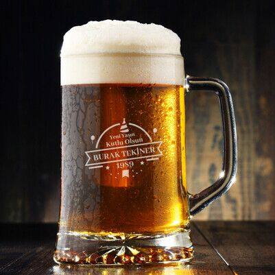 - Yaş Günü Tasarımlı Bira Bardağı