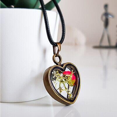 Yaşayan Kolye Turuncu Beyaz Çiçek YK11 - Thumbnail