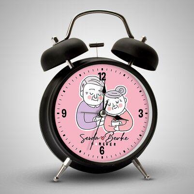 Yaşlı Çiftler İsme Özel Çalar Saat - Thumbnail