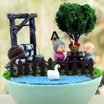 Yaşlı Çiftler Piknikte Mini Bahçe - Thumbnail
