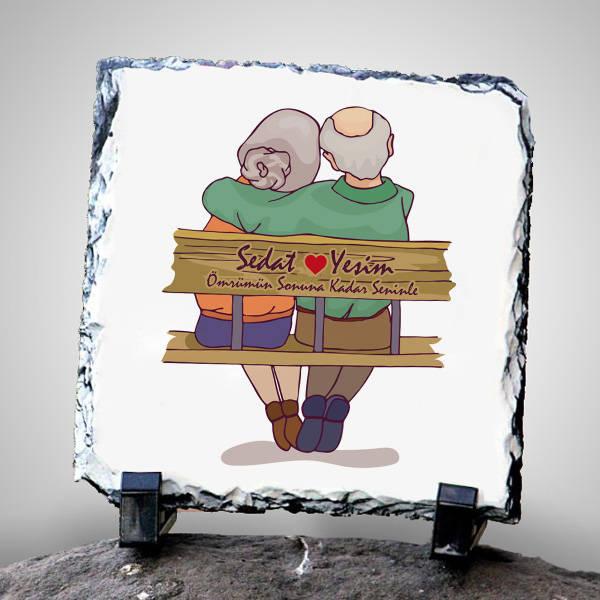 Yaşlı Çiftler Tasarımlı Taş Baskı