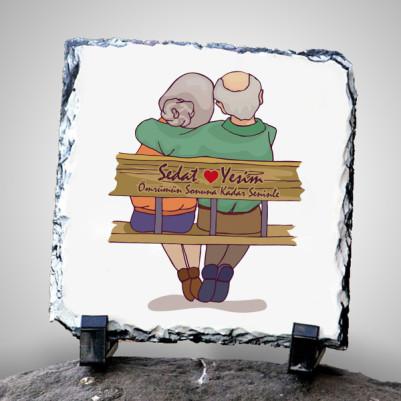 - Yaşlı Çiftler Tasarımlı Taş Baskı