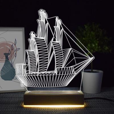 - Yelkenli Gemi Tasarımlı 3d Led Lamba