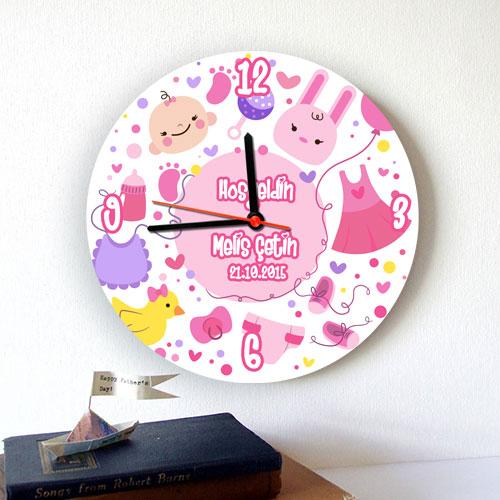 Yeni Doğan Kız Bebek Duvar Saati