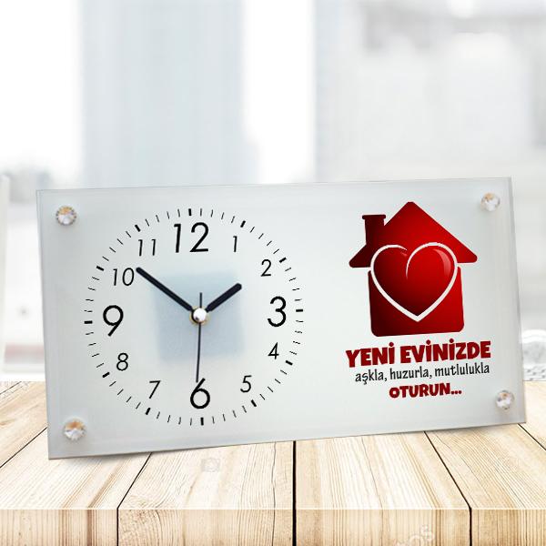 Yeni Ev Hediyesi Cam Masa Saati