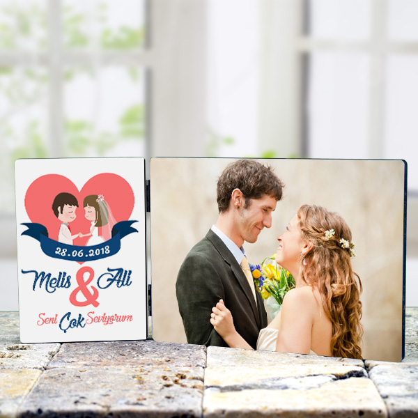 Yeni Evlenenlere Özel Resimli Masa Dekoru