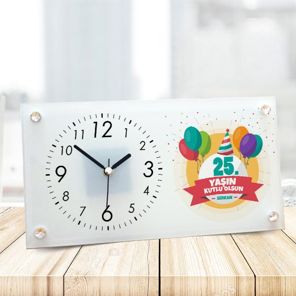 Yeni Yaşın Kutlu Olsun Cam Masa Saati
