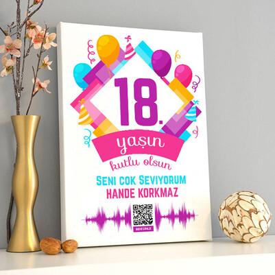 Yeni Yaşın Kutlu Olsun Ses İzi Kanvas Tablo - Thumbnail