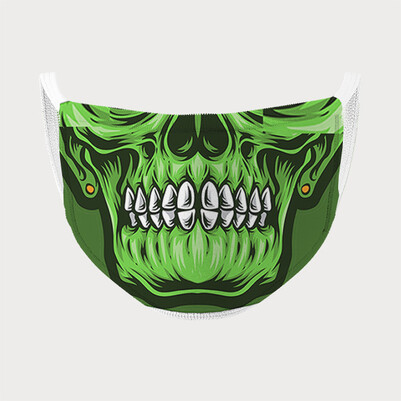 Yeşil Kuru Kafa Tasarım Ağız Maskesi - Thumbnail
