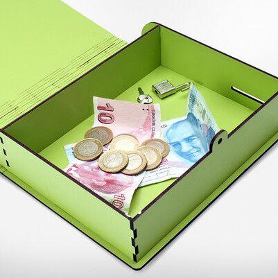 Yeşil Renkli MDF Kumbara Saat - Thumbnail