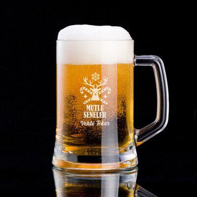 - Yılbaşı Geyiği İsme Özel Bira Bardağı