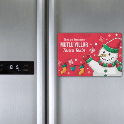 Yılbaşı Mesajlı Buzdolabı Magneti - Thumbnail